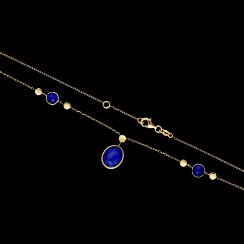 Złoty naszyjnik z lapisem pr.585