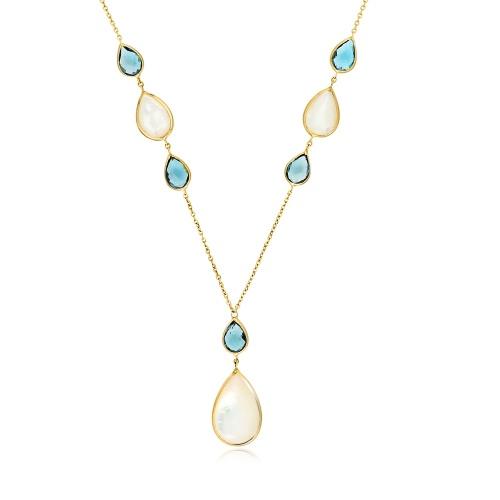Złoty naszyjnik z masą perłową i topazem pr.585