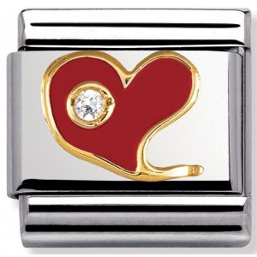 Nomination - Link 18K Gold Czerwone Serce Emalia 030321/21