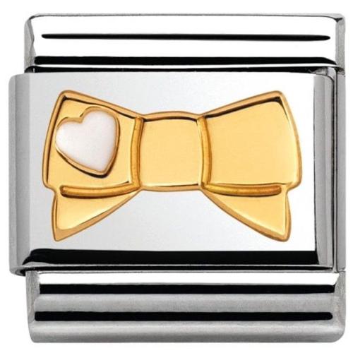 Nomination - Link 18K Gold 'Kokarda z Serduszkiem Białym' 030285/43