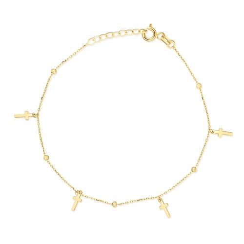 Złota bransoletka celebrytka - Krzyżyki z kuleczkami pr.585