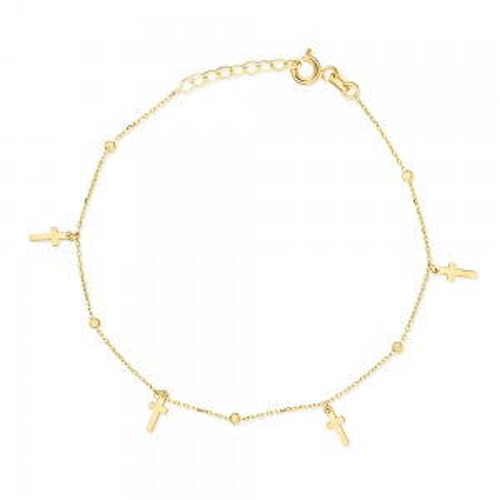 Złota bransoletka celebrytka - Krzyżyki z kuleczkami pr.333