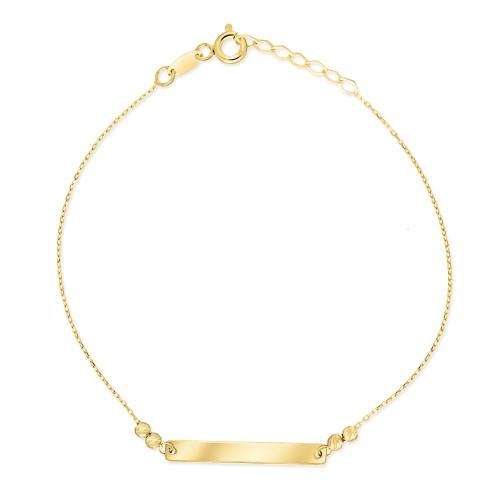 Złota bransoletka celebrytka - Blaszka pod grawer pr.333