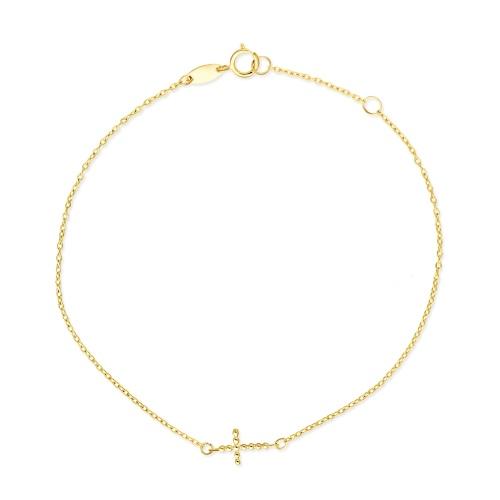 Złota bransoletka celebrytka - Krzyżyk pr.333