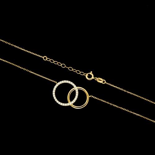 Pozłacany naszyjnik z cyrkoniami - Pierścienie pr.925