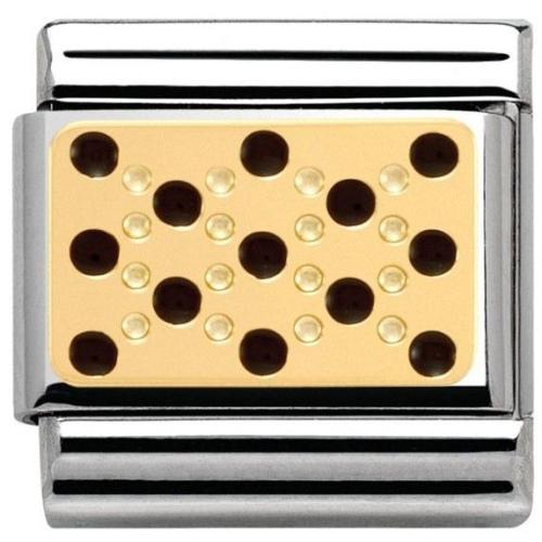 Nomination - Link 18K Gold 'Wzór Czarne Kropki' 030281/10