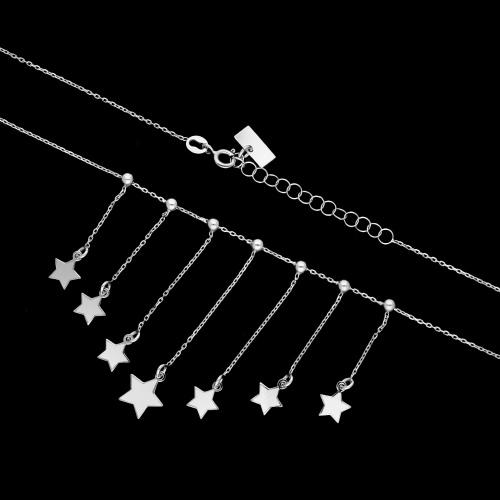 Srebrny naszyjnik choker - Wiszące Gwiazdki pr.925