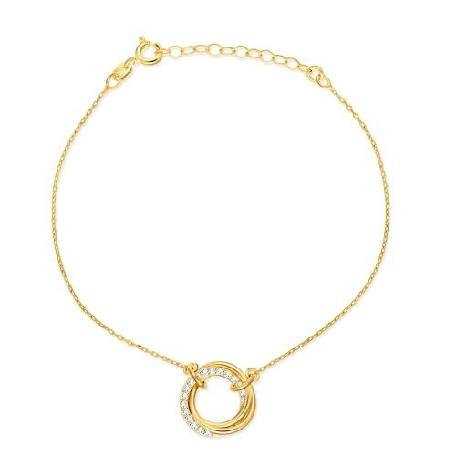 Pozłacana bransoletka celebrytka z cyrkoniami - Splecione Pierścienie pr.925