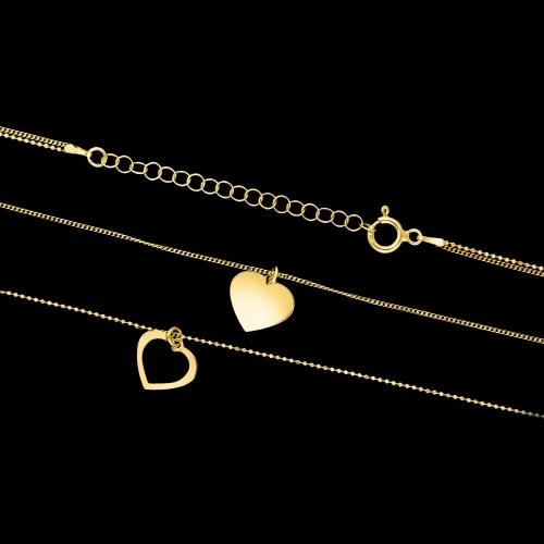 Pozłacany naszyjnik kaskadowy - Serca pr.925