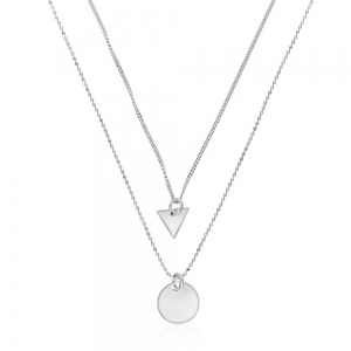 Srebrny naszyjnik kaskadowy - Trójkąt i Koło pr.925