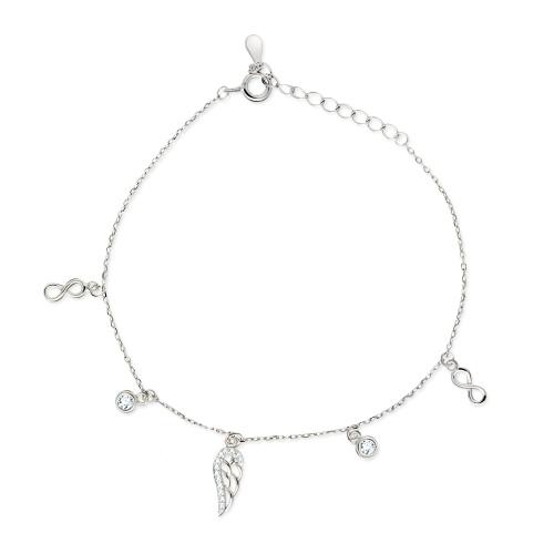 Srebrna bransoletka z cyrkoniami - Skrzydełko pr.925
