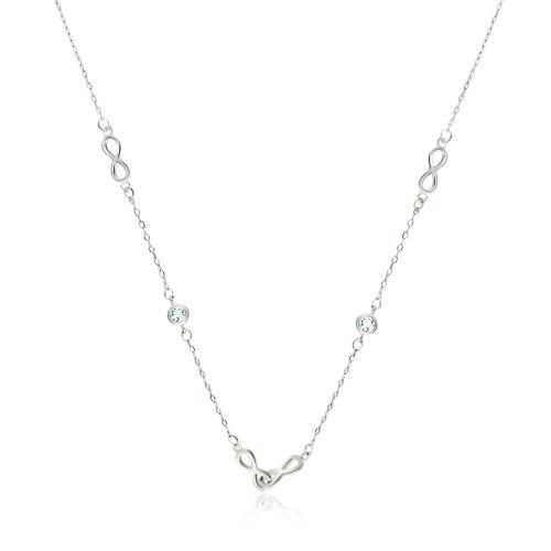 Srebrny naszyjnik celebytka z kryształkami - Nieskończoność pr.925