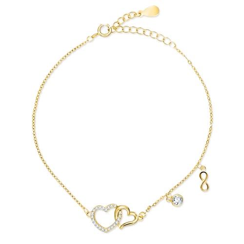 Pozłacana bransoletka celebrytka z cyrkoniami - Wieczna Miłość pr.925