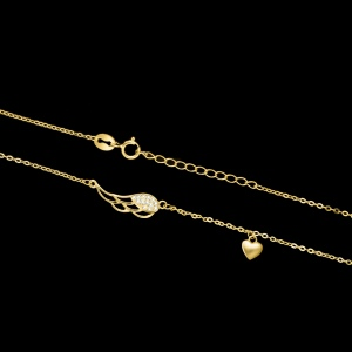 Pozłacany naszyjnik celebrytka z cyrkoniami - Uskrzydlona Miłość pr.925