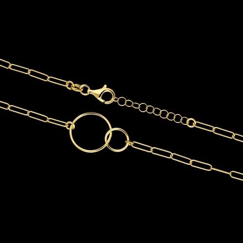Pozłacany naszyjnik  - Splecione Koła pr.925