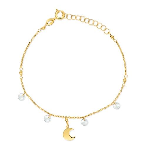 Pozłacana bransoletka celebrytka z kryształami - Półksiężyc pr.925