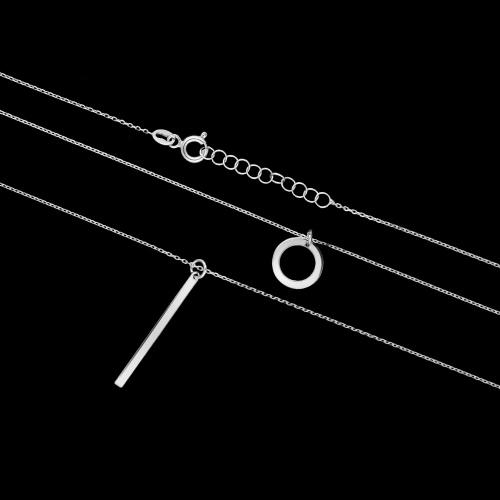 Srebrny naszyjnik kaskadowy - Kółko pr.925