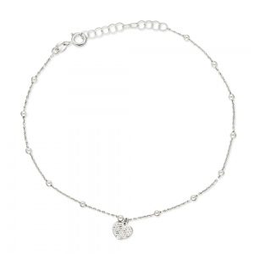 Srebrna bransoletka celebrytka na nogę - Serce pr.925