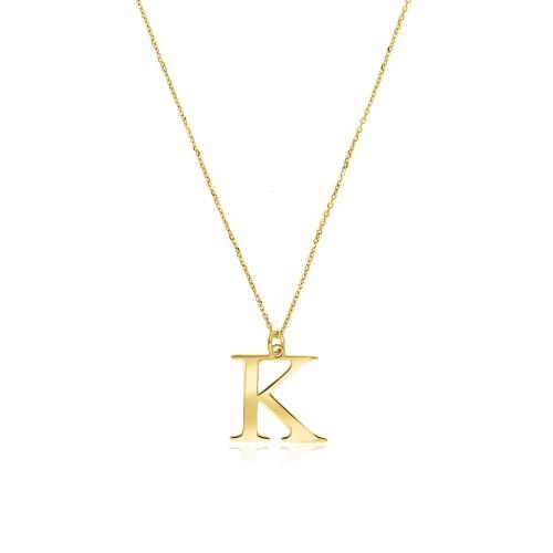 Złoty naszyjnik celebrytka - Litera K pr.333