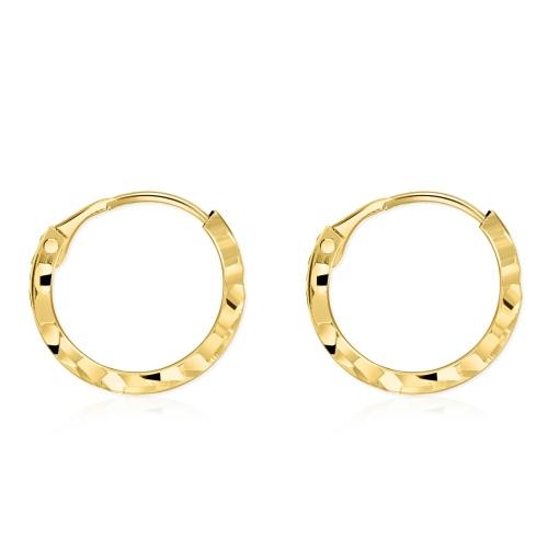 Złote kolczyki - Zdobione Kółeczka 13mm pr.585