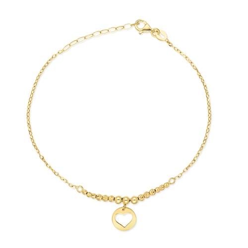 Złota bransoletka celebrytka - Moneta z Sercem pr.585