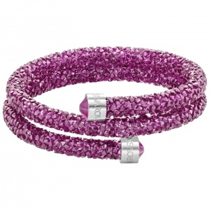 Bransoletka SWAROVSKI - Crystaldust Bangle Double, Fuchsia Pink 5273643