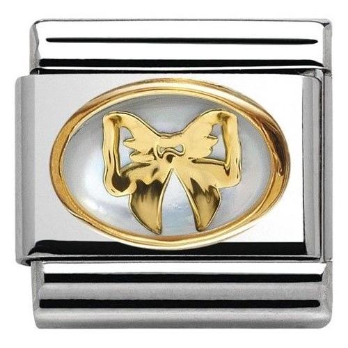 Nomination - Link 18K Gold Biały kamień 030517/01