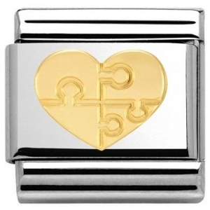 Nomination - Link 18K Gold 'Puzzle Heart' 030116/18