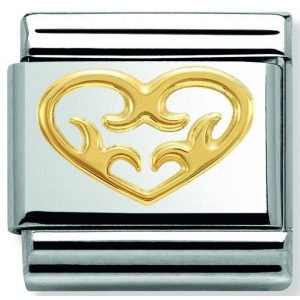 Nomination - Link 18K Gold Decorated Heart 030152/03