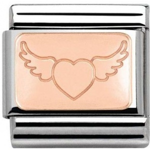 Nomination -  Link 9K Rose Gold Plate Flying Heart 430101/16