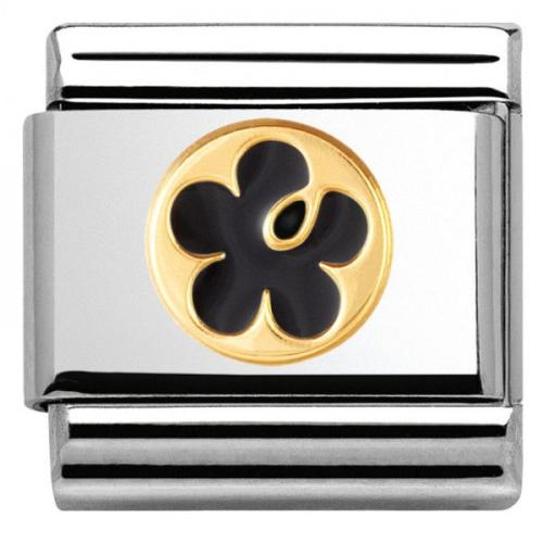 Nomination - Link 18K Gold 'Czarny Kwiat' 030279/06