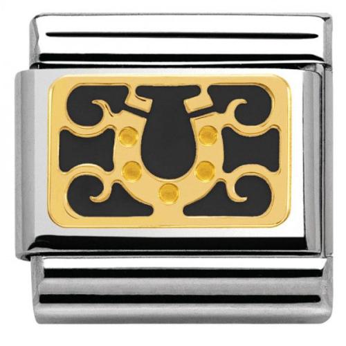 Nomination - Link 18K Gold Czarna Podkowa 030280/22