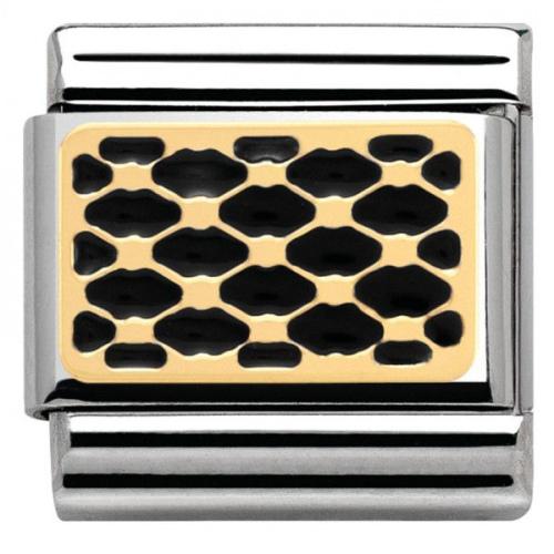 Nomination - Link 18K Gold 'Black Enamel Interlocking' 030281/08
