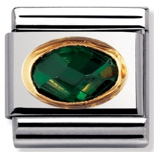 Nomination - Link 18K Gold 'Szmaragd' 030601/027