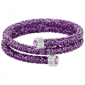 Bransoletka SWAROVSKI - Crystaldust Heart Double Bangle, Purple 5292451 S