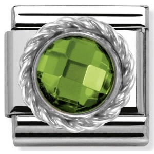 Nomination -  Link 925 Silver 'Round Faceted green Stone' 330601/004