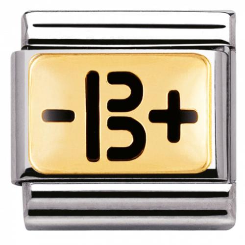 """Nomination - Link 18K Gold Grupa Krwi """" - B +""""  030263/04"""