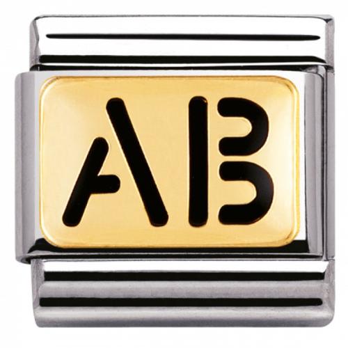 """Nomination - Link 18K Gold Grupa Krwi """" AB """"  030263/07"""