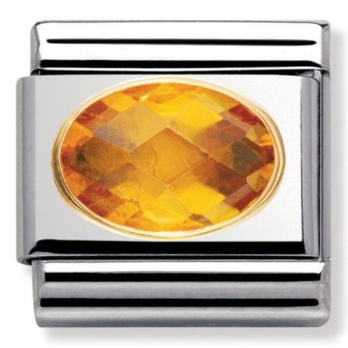 Nomination - Link 18K Gold 'Żółta Cyrkonia' 030601/002