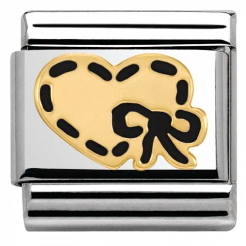 Nomination - Link 18K Gold Heart with black Ribbon 030253/45