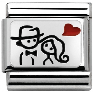 Nomination - Link 925 Silver 'Couple with Heart' 330208/10