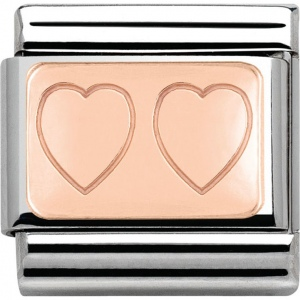 Nomination -  Link 9K Rose Gold Double Heart 430101/15