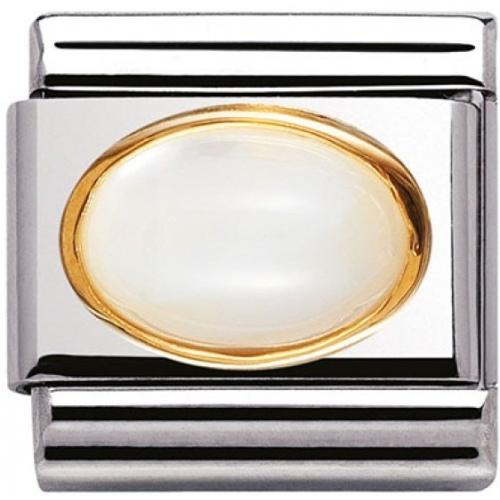 Nomination - Link 18K Biały Kamień Księżycowy 030502/17