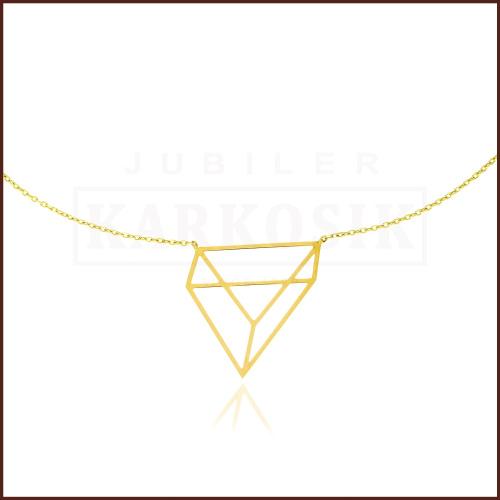 Złoty Naszyjnik Celebrytka Origami Trójkąt 45cm pr.333