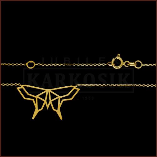 Złoty Naszyjnik Celebrytka Origami Motyl pr.333