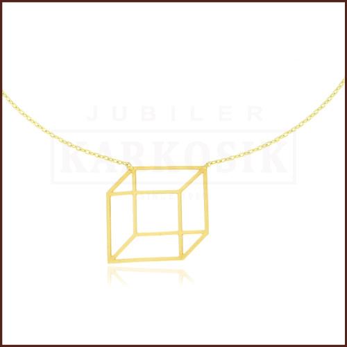 Złoty Naszyjnik Celebrytka Origami Sześcian pr.333
