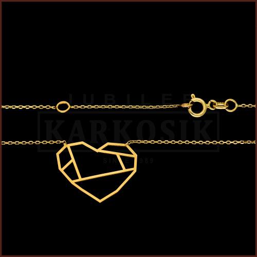 Złoty Naszyjnik Celebrytka Origami Serce pr.333