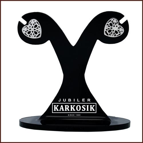 Srebrne kolczyki - Ażurowe Serduszka pr.925