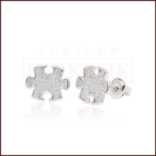 Srebrne kolczyki z cyrkoniami - Puzzle pr.925