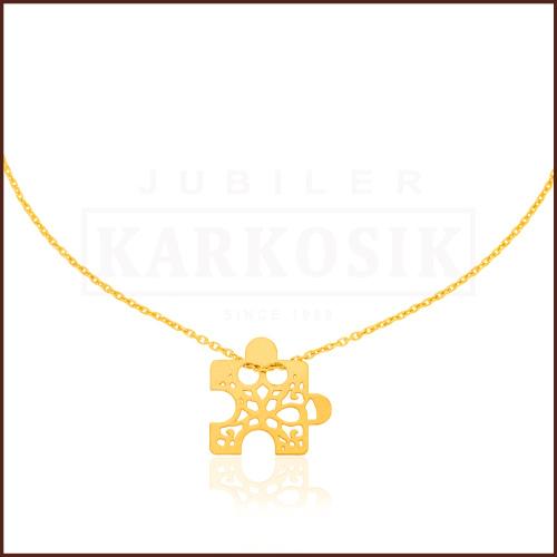 Pozłacany Naszyjnik Celebrytka Ażurowe Puzzle Srebro pr.925